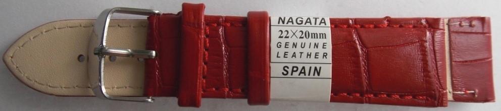 Ремешок кожаный NAGATA (ИСПАНИЯ) 22 мм, красный