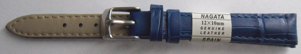 Ремешок кожаный NAGATA (ИСПАНИЯ) 12 мм, синий