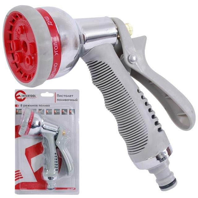 Пистолет-распылитель для полива INTERTOOL GE-0004 хромированный 8 режимов