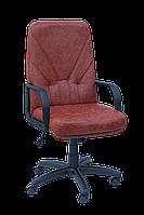 [ Кресло Ibiza H-2221S Brown + Подарок ] Офисное кресло с хромированными подлокотниками эко кожа коричневый