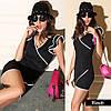 Стильное черное платье с воланами
