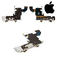 Шлейф для iPhone 6S, коннектора зарядки, коннектора наушников, с компонентами, белый, оригинал