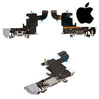Шлейф для iPhone 6S, коннектора зарядки, коннектора наушников, с компонентами, серый, оригинал