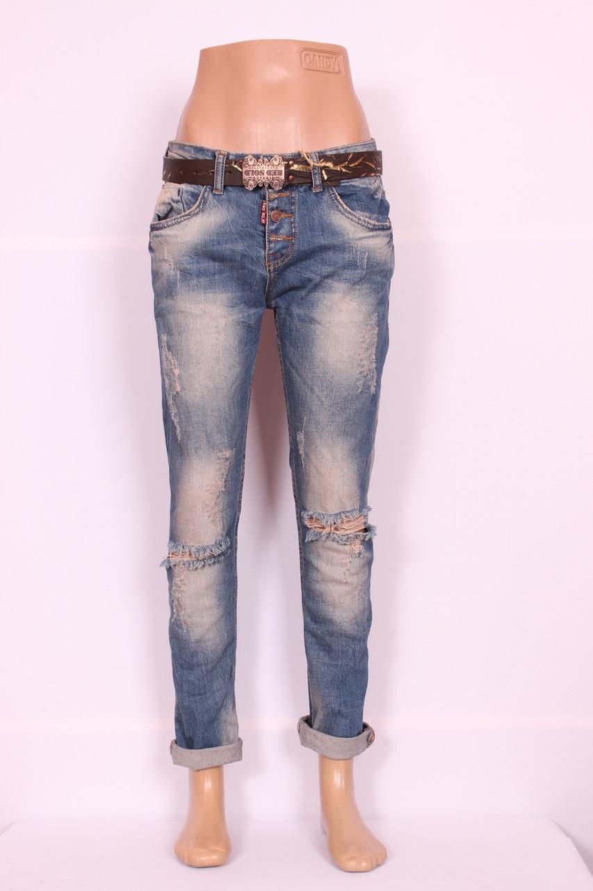 Женские турецкие рваные джинсы бойфренды Red Sold