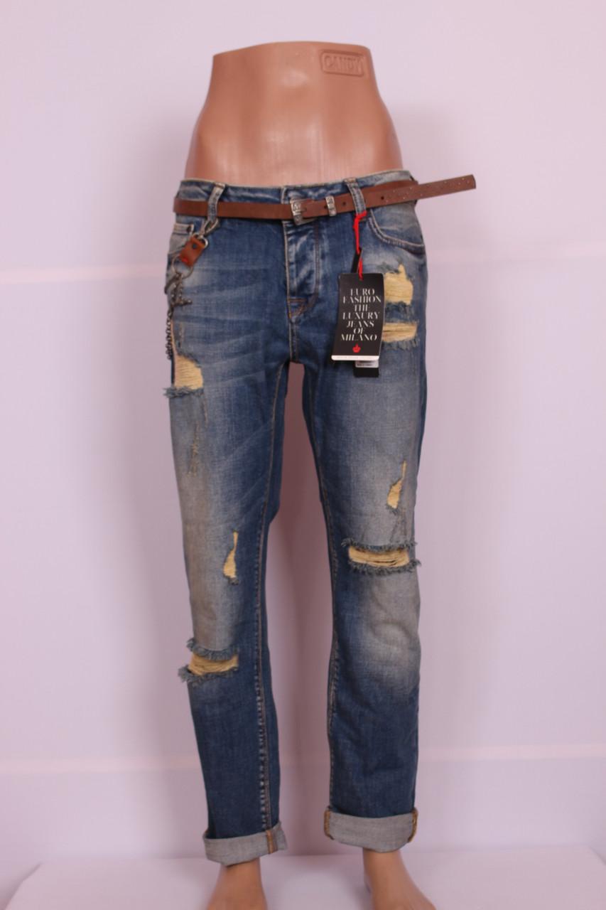 Женские турецкие рваные джинсы бойфренды EuroFashion