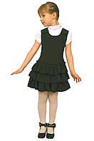 Сарафан школьный для девочки М-918 рост 116-146 зеленый, фото 1