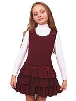 """Сарафан школьный для девочки М-918 рост 116-146 бордовый тм """"Попелюшка"""", фото 1"""