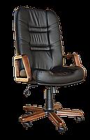 [ Кресло Minister Extra D-5 1.031 + Подарок ] Офисное кресло с деревянными подлокотниками эко кожа черный