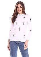 Женская белая рубашка с принтом