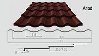 Металлочерепица Arad Классик (покрытие полиэстер) Полимерное, 0.50ММ, Каскад, 0.5, 1180.0, RAL3009 (оксид красный)