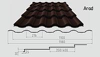 Металлочерепица Arad Классик (покрытие полиэстер) Полимерное, 0.50ММ, Каскад, 0.5, 1180.0, RAL8017 (шоколадно коричневый)