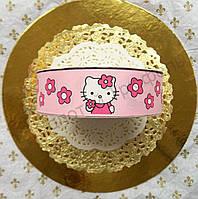 """Лента для декора """"Hello Kitty на розовой ленте"""" h-2.5см"""