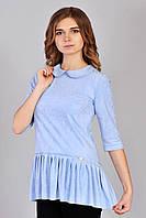 Женская асимметричная туника голубого цвета