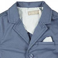 Нарядное (лето) пиджак из твилла, с точечку, карманы с клапанами мал. голубой 98% хлопок,  2 %эластан, подклад