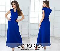 Женское летнее яркое платье в пол с глубоким вырезом