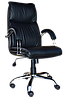 [ Кресло Nadir steel chrome D-5 + Подарок ] Кресло с хромированными подлокотниками эко кожа черный