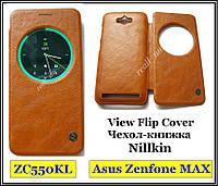 Коричневый кожаный чехол-книжка Nillkin QIN Flip Cover для Asus Zenfone MAX ZC550KL Z010D Z010DA, фото 1