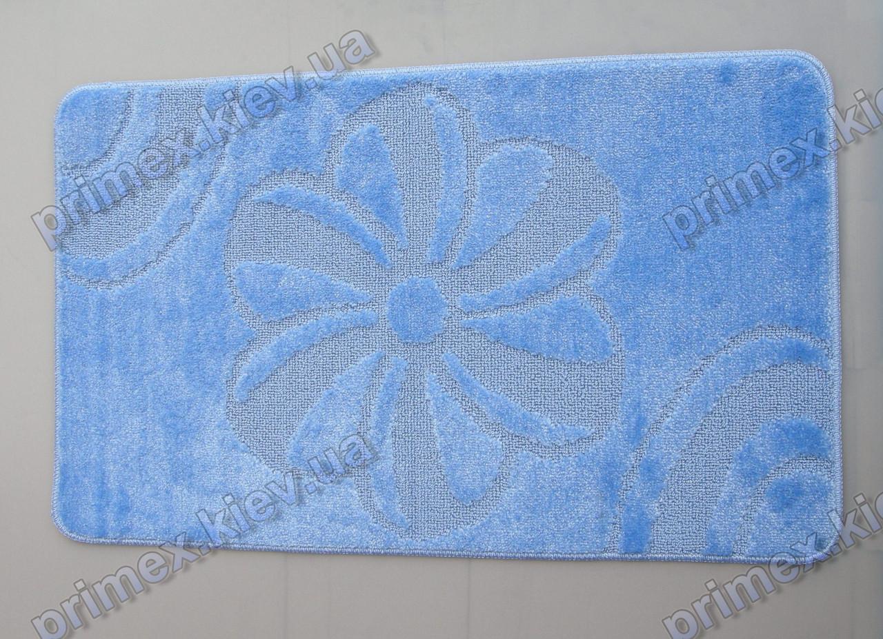 Коврик для ванной, 60х100см. Цветок голубой