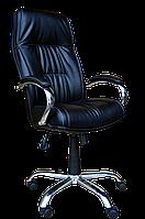 [ Кресло Kometa Chrome Tilt D-5 + Подарок ] Офисное кресло с пластиковыми подлокотниками эко кожа