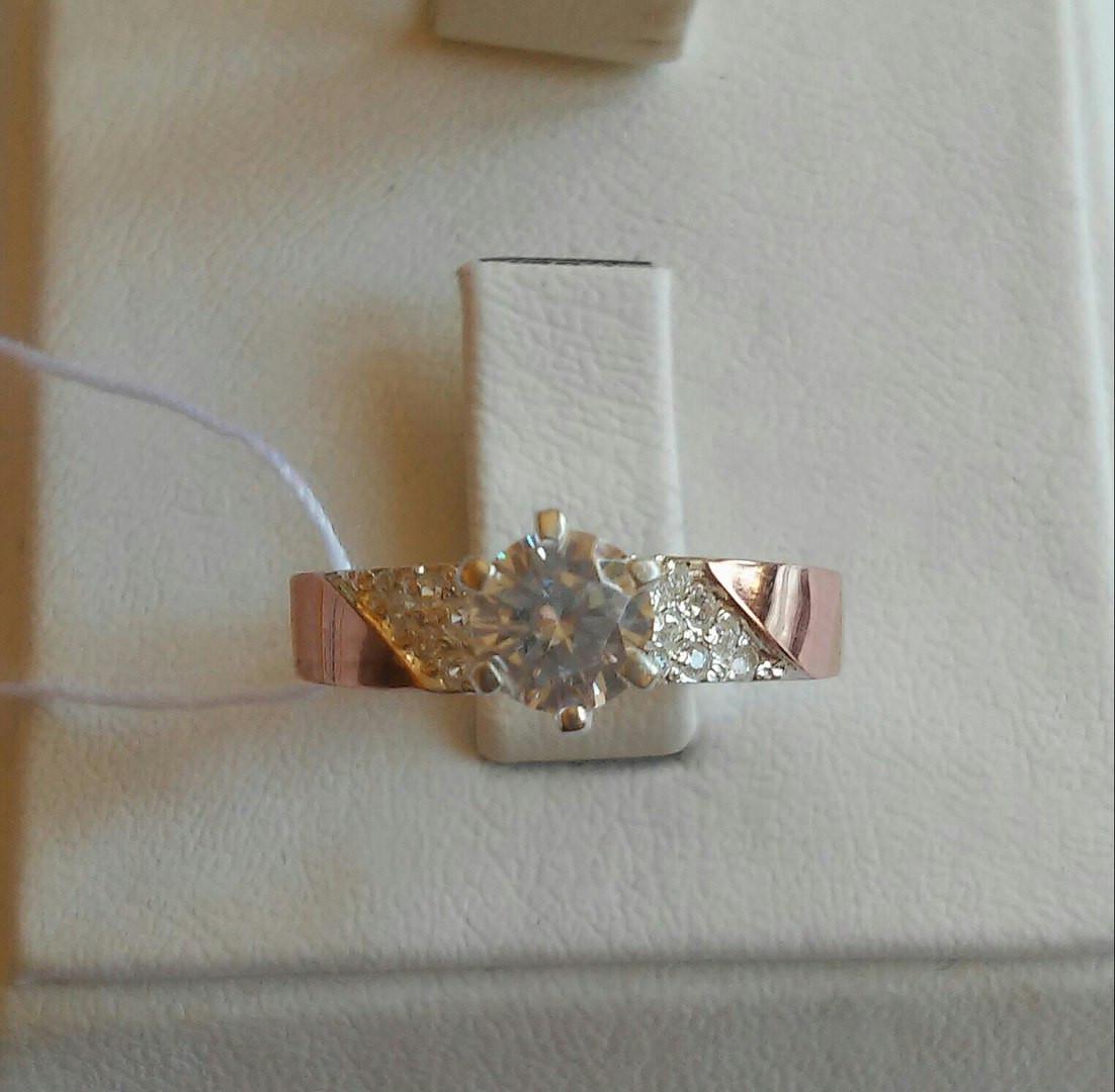 Срібне кільце зі вставками золота
