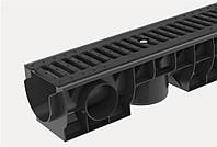 Комплект: Лоток пластиковый водоотводный  H120 с чугунной решеткой