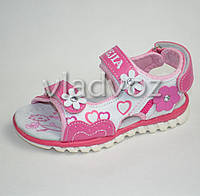 Босоножки сандалии для девочки розовые Солнце 29р.