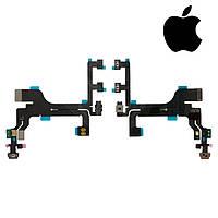Шлейф для iPhone 5C, кнопки включения, боковых клавиш, с компонентами, с микрофоном, оригинал
