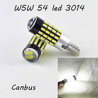 LED лампа в габарит SL LED, с обманкой can bus, цоколь W5W(T10) 54 led 3014, 9-30 В. Белый 5000K