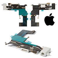 Шлейф для iPhone 5S, коннектора зарядки, коннектора наушников, с компонентами, белый, оригинал