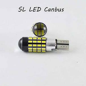 LED лампа в габарит SL LED, с обманкой can bus, цоколь W5W(T10) 54 led 3014, 9-30 В. Белый 5000K, фото 2