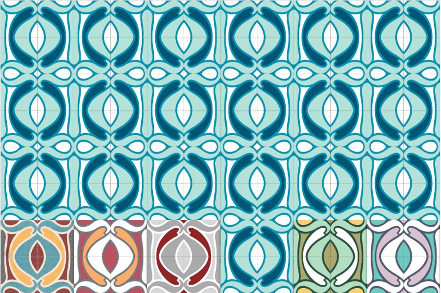 Декоративная цементная плитка ручной работы в стиле Арт Нуво, art nouveau,  20х20 см. Орнамент и бордюр.