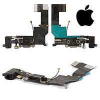 Шлейф для iPhone 5S, коннектора зарядки, коннектора наушников, с компонентами, черный, оригинал