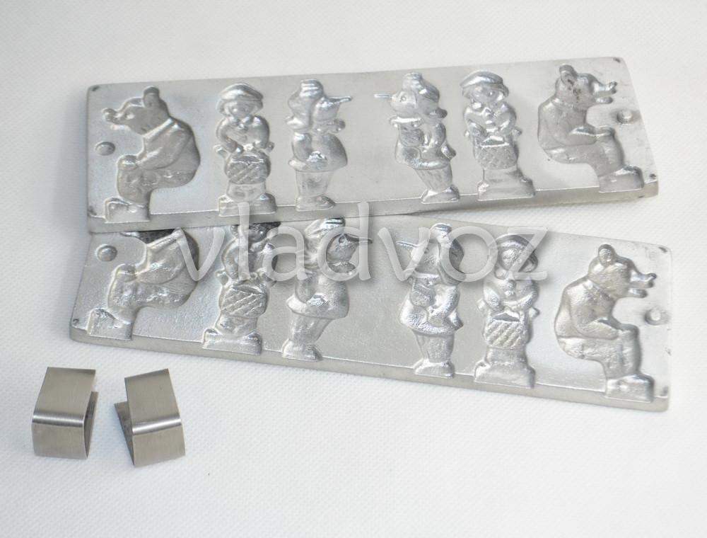 Алюминиевая форма для леденцов конфеты на палочке мишка