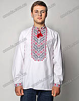 Вышиванка мужская крестиком с красной вышивкой