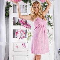 Сорочка для кормления Розовая в белые огурцы-С,М