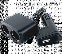 Разветвитель прикуривателя Auto Welle AW07-12 (2 гнезда 12V/24V, 70W, USB 1 A)