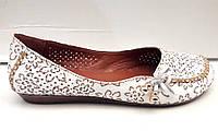 Балетки летние кожаные белые Uk0256
