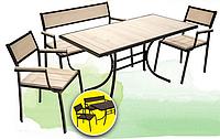 Бристоль — практичная мебель для двора и сада: 4 предмета, основа из металла, сосна в двух цветах