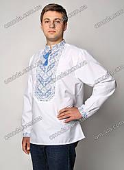 Вышиванка мужская крестиком с синей вышивкой