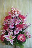 Икебана  роза с лилией ( 1 шт в уп), 85см, розовая