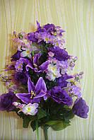 Икебана  роза с лилией ( 1 шт в уп), 85см, сирень, фото 1