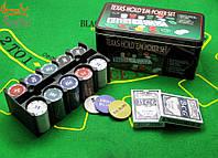Покерный набор 200 фишек с номиналом в коробке