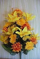 Икебана  хризантема с лилией ( 1 шт в уп), 85см, оранжевый, фото 1