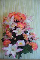Икебана  хризантема с лилией ( 1 шт в уп), 85см, коралл