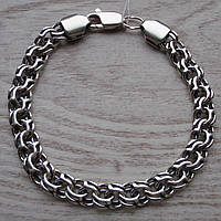 Шикарный серебряный мужской браслет, 210мм, 24,7 грамма, плетение Бисмарк