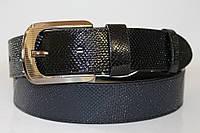 Ремень кожаный унисекс 40 мм змеиная кожа цвет синий/чёрный