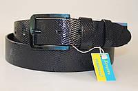 Ремень кожаный унисекс 40 мм пряжка синяя хромовая текстура ремня - змеиная кожа