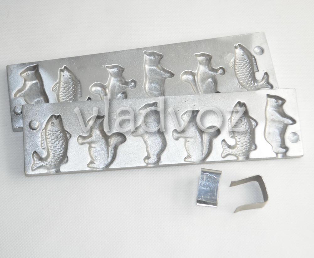 Алюминиевая форма для леденцов конфеты на палочке рыбка