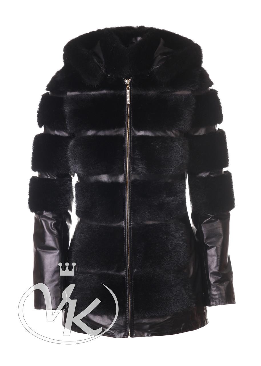 Куртка кожаная меховая женская длинная с капюшоном зимняя женская 50 размера (Арт. ARI202)
