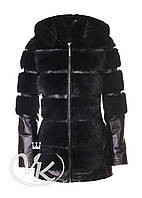 Черная кожаная куртка с мехом